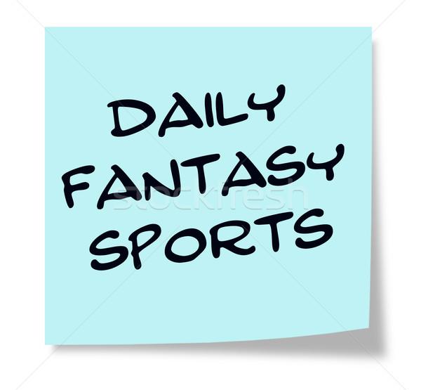 Dagelijks fantasie sport geschreven Blauw sticky note Stockfoto © mybaitshop