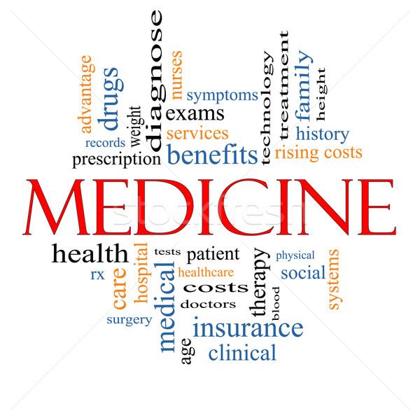 Tıp kelime bulutu muhteşem kayıtlar sınavlar hasta Stok fotoğraf © mybaitshop