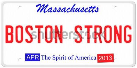 Бостон сильный номерной знак имитация Массачусетс 2013 Сток-фото © mybaitshop