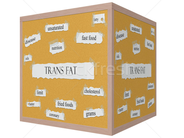 Trans Fat 3D Cube Corkboard Word Concept Stock photo © mybaitshop