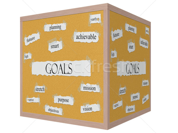 Goals 3D cube Corkboard Word Concept Stock photo © mybaitshop