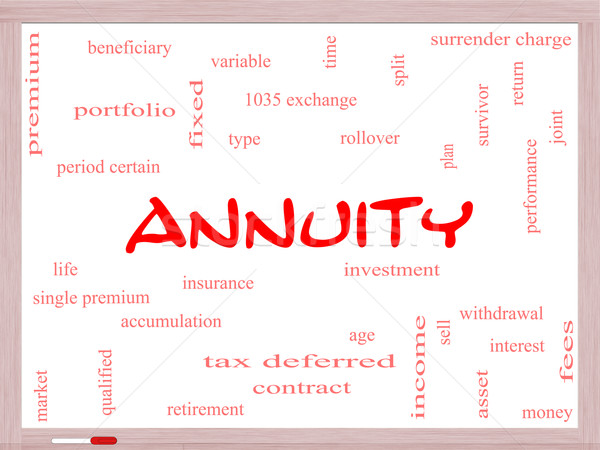 Annuity Word Cloud Concept on a Whiteboard Stock photo © mybaitshop