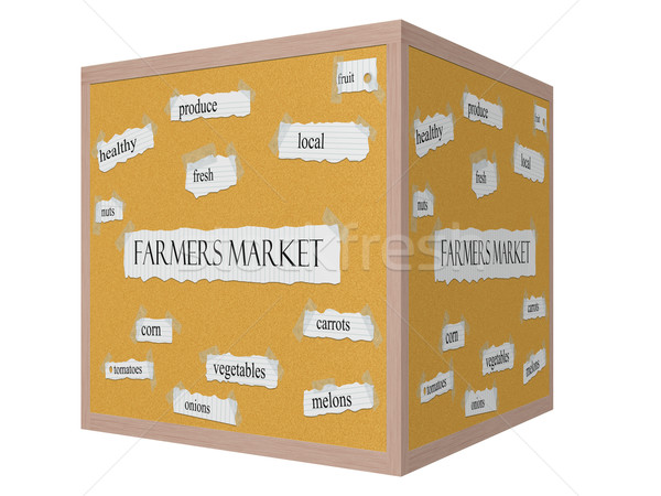 Farmers Market 3D cube Corkboard Word Concept Stock photo © mybaitshop