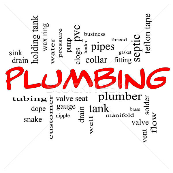 Plumbing Word Cloud Concept in red caps Stock photo © mybaitshop