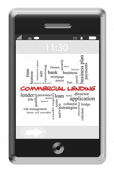 Commercial Lending Word Cloud Concept on Touchscreen Phone Stock photo © mybaitshop