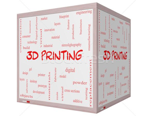 Photo stock: 3D · impression · nuage · de · mots · cube · magnifique