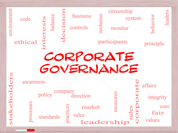Corporate Governance Word Cloud Concept on a Whiteboard Stock photo © mybaitshop