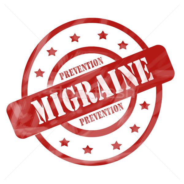 Piros viharvert migrén megelőzés bélyeg körök Stock fotó © mybaitshop