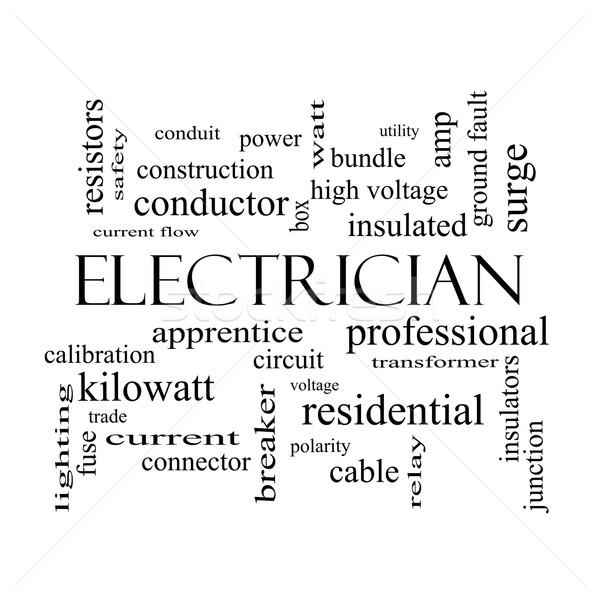 électricien nuage de mots blanc noir magnifique tension apprenti Photo stock © mybaitshop