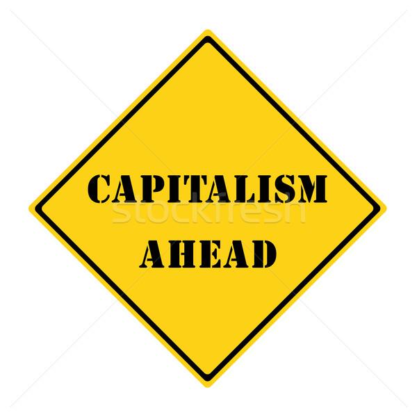 Capitalismo à frente assinar amarelo preto diamante Foto stock © mybaitshop