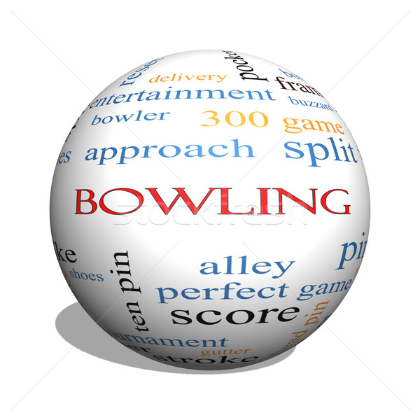Bowling 3D bol woordwolk groot frame Stockfoto © mybaitshop