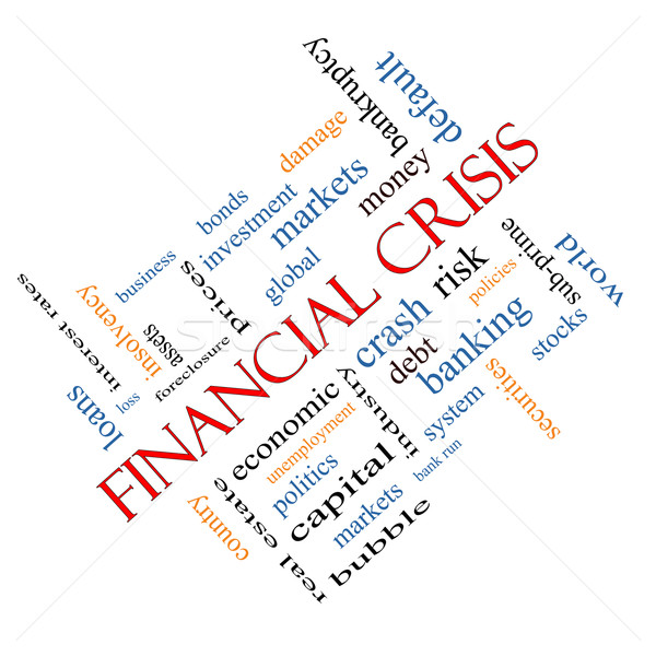 Stock photo: Financial Crisis Word Cloud Concept Angled