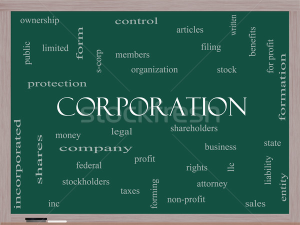 Corporation Word Cloud Concept on a Blackboard Stock photo © mybaitshop