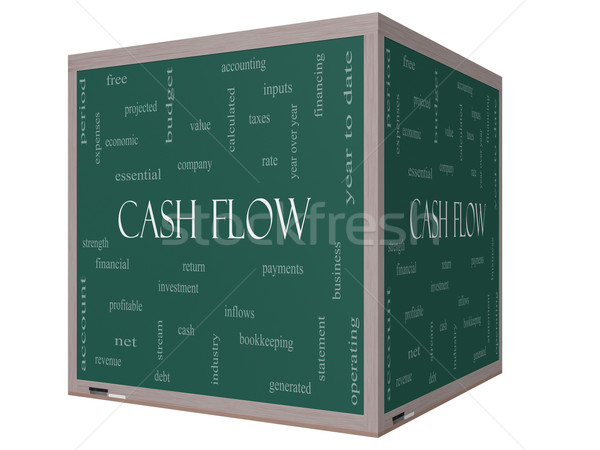 Cash Flow Word Cloud Concept on a 3D cube Blackboard Stock photo © mybaitshop
