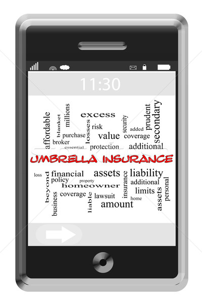 Umbrella Insurance Word Cloud Concept on Touchscreen Phone Stock photo © mybaitshop