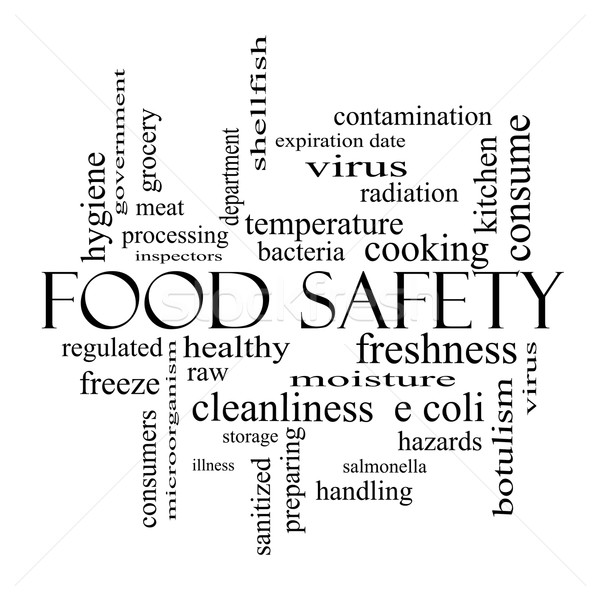 Food Safety Word Cloud Concept in black and white Stock photo © mybaitshop