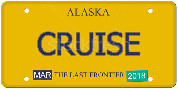 круиз Аляска номерной знак имитация слово последний Сток-фото © mybaitshop
