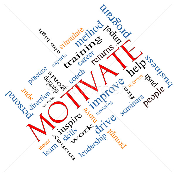 Motivate Word Cloud Concept Angled Stock photo © mybaitshop