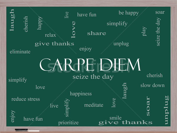 Carpe Diem Word Cloud Concept on a Blackboard Stock photo © mybaitshop
