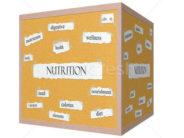 Nutrition 3D cube Corkboard Word Concept Stock photo © mybaitshop