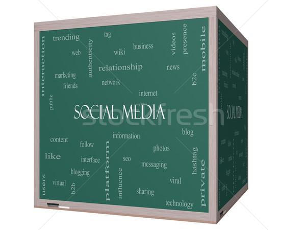 ソーシャルメディア 言葉の雲 3D キューブ 黒板 ストックフォト © mybaitshop