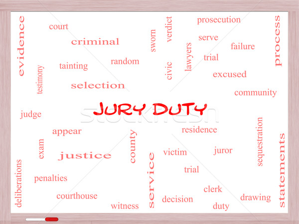 Jury Duty Word Cloud Concept on a Whiteboard Stock photo © mybaitshop