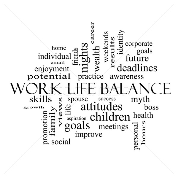 Work Life Balance Word Cloud Concept in black and white Stock photo © mybaitshop