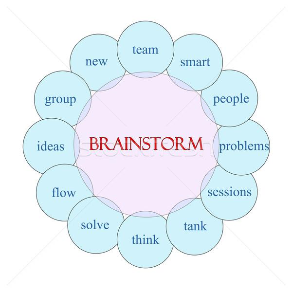 Burza mózgów słowo schemat różowy niebieski Zdjęcia stock © mybaitshop