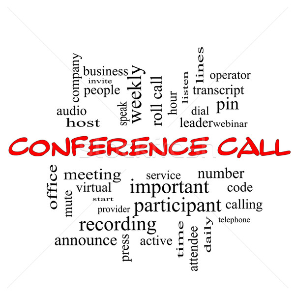 Conference Call Word Cloud Concept in red caps Stock photo © mybaitshop