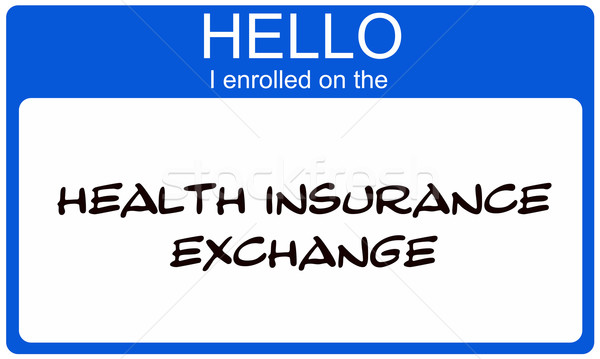 Hello I Enrolled on the Health Insurance Exchange blue name tag Stock photo © mybaitshop