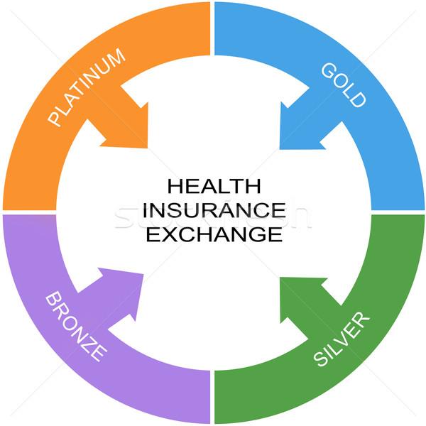 Egészségbiztosítás csere szó kör nagyszerű ezüst Stock fotó © mybaitshop