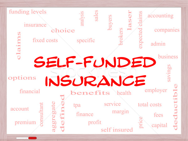 Self Funded Insurance Word Cloud on a Whiteboard Stock photo © mybaitshop