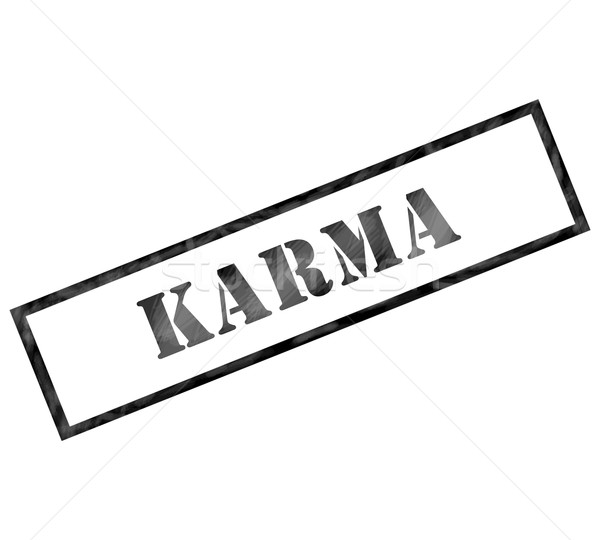 Black Karma weathered rectangle shaped stamp Stock photo © mybaitshop