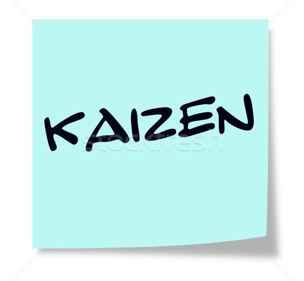 Kaizen written on a blue sticky note Stock photo © mybaitshop