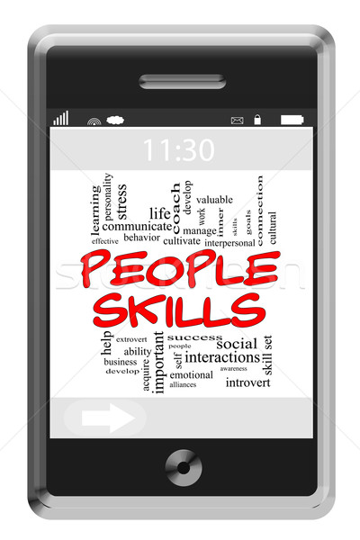 People Skills Word Cloud Concept on Touchscreen Phone Stock photo © mybaitshop