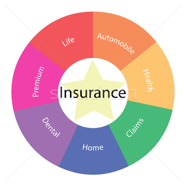 Insurance circular concept with colors and star Stock photo © mybaitshop