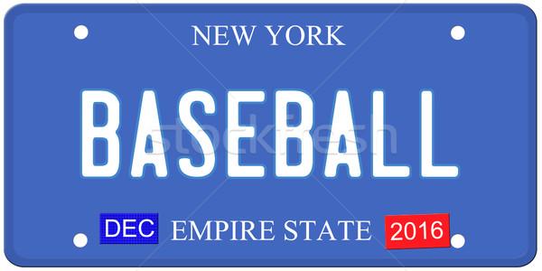Baseball New York kentekenplaat imitatie december 2016 Stockfoto © mybaitshop