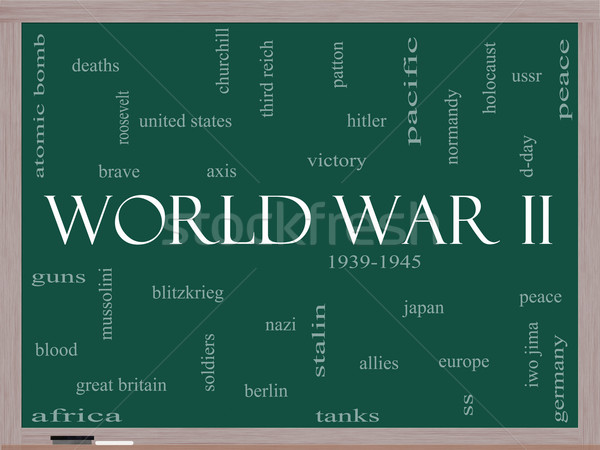 World War II Word Cloud Concept on a Blackboard Stock photo © mybaitshop