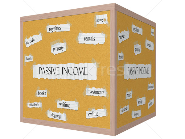Passive Income 3D cube Corkboard Word Concept Stock photo © mybaitshop