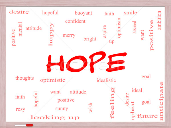 Hope Word Cloud Concept on a Whiteboard Stock photo © mybaitshop