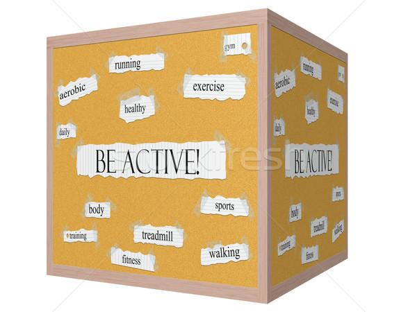 Be Active! 3D cube Corkboard Word Concept Stock photo © mybaitshop