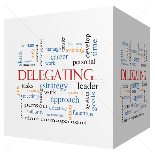 Delegating 3D cube Word Cloud Concept Stock photo © mybaitshop