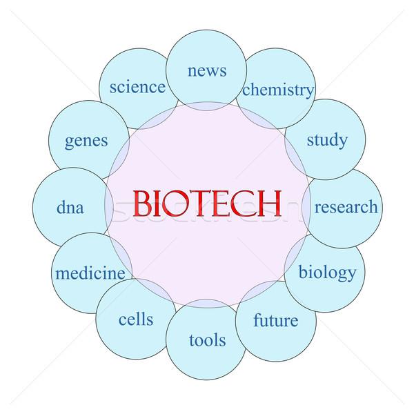 Biyoteknoloji kelime diyagram pembe mavi Stok fotoğraf © mybaitshop
