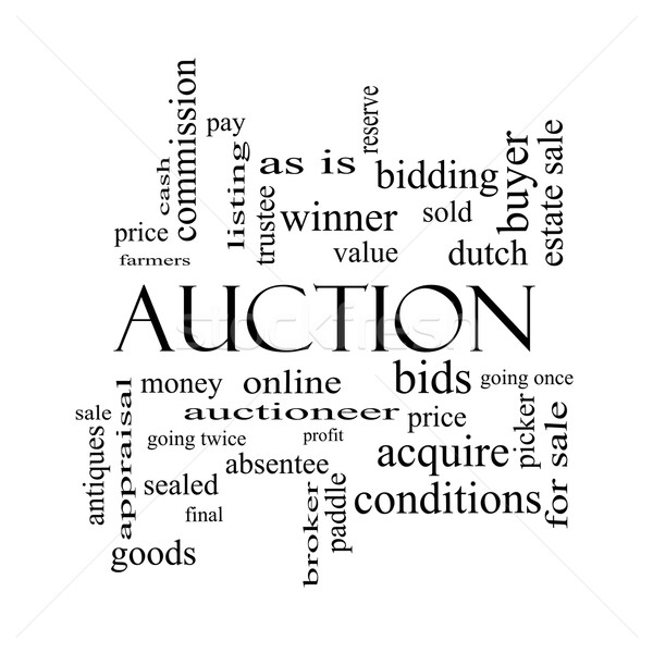 Auction Word Cloud Concept in black and white Stock photo © mybaitshop