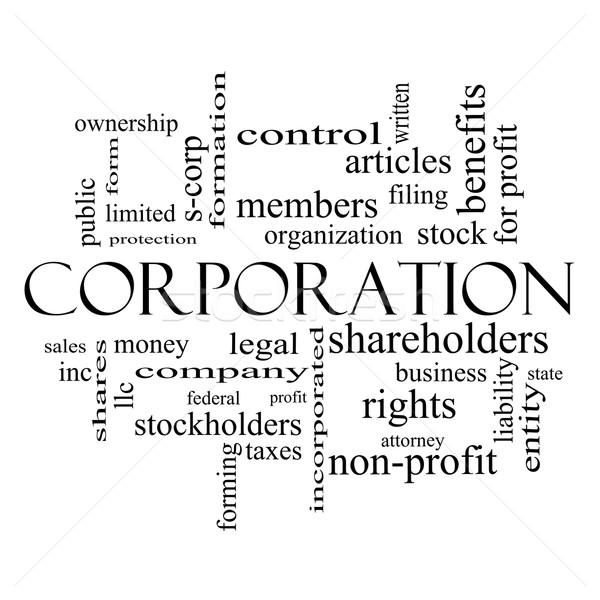Corporation Word Cloud Concept in black and white Stock photo © mybaitshop