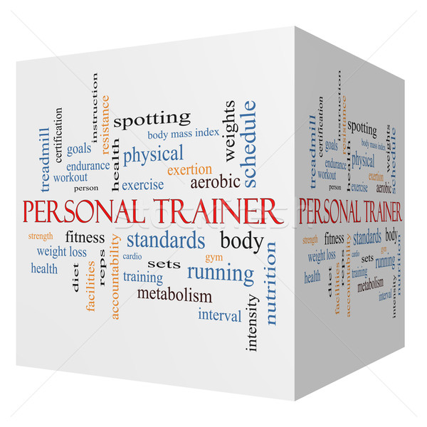 Personal Trainer 3D cube Word Cloud Concept Stock photo © mybaitshop
