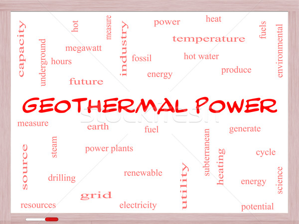 Geothermal Power Word Cloud Concept on a Whiteboard Stock photo © mybaitshop