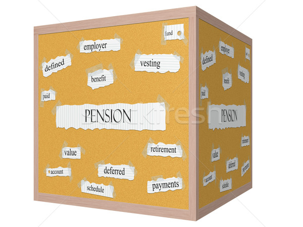 Pension 3D cube Corkboard Word Concept Stock photo © mybaitshop