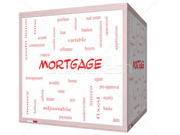 Mortgage Word Cloud Concept on a 3D cube Whiteboard Stock photo © mybaitshop