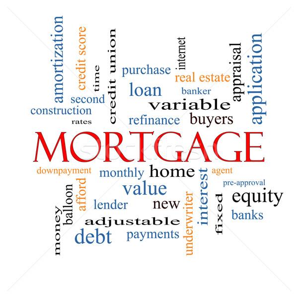 Hypothèque nuage de mots magnifique prêt maison banquier Photo stock © mybaitshop